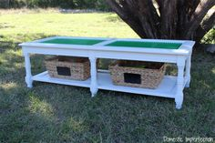 She had an old coffee table that she didn't need. Instead of throwing it out, she made it into this for her son.