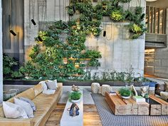 At 1 Hotel Brooklyn Bridge Park by INC Architecture & Design, the lobby's plant wall features ferns and vines. Photography by Eric Laignel.
