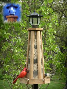 Solar-Powered Lighthouse Bird Feeder, Solar Lighthouse Bird Feeder, Solar Bird Feeders at Songbird Garden Unique Bird Feeders, Wooden Bird Feeders, Bird House Feeder, Diy Bird Feeder, Bird Suet, Solar Powered Yard Lights, Solar Lights, Bird Houses For Sale, Solar Lighthouse