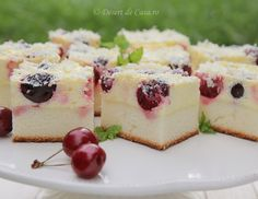 Prajitura cu branza dulce si cirese Romania Food, Romanian Desserts, Desert Recipes, Cheesecake Recipes, Sweet Treats, Deserts, Food And Drink, Yummy Food, Sweets
