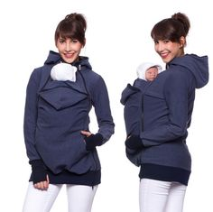 Viva la Mama | The 3in1 denim-blue long-sleeved nursing & baby carrier hoodie FERIS Active is your perfect companion for maternity, pregnancy, baby wearing and everyday use. The kangaroo mom and baby hoodie keeps your baby warm, close and save :)