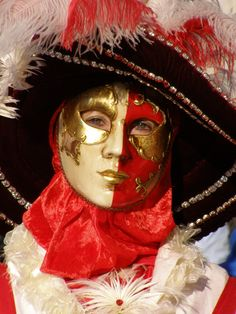 Red, white and black. Venice Carnival 2015 by Lesley McGibbon