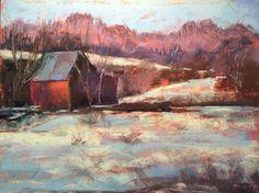 Snowy Farm  9x12 pastel by SL Graham
