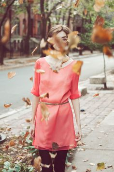 ...from Hound's fall collection, this simple and sweet honeysuckle colored dress, paired with those black tights, and that skinny belt, just totally does it for me.  I would even cut my hair into a bob.  Ahhhh...if only I could be her for a day.  Or a week.  Or months...