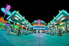 Flo's Cafe in Cars Land at Disney California Adventure. See more Cars Land… Cars Land Disneyland, Disneyland Dining, Disneyland Restaurants, Disneyland Food, Disneyland Resort, Walt Disney, Downtown Disney, Disney Fun, Disney Parks