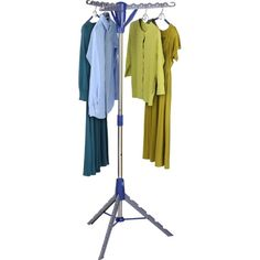 Maximum air drying in minimal space. This energy saving drying rack holds up to 36 items and uses only 26 square inches of floor space. The extra tall design works for both long and short garments. Unique one-touch folding mechanism lets you fold down both arms and feet in an instant. Constructed with a sturdy and rust-resistant, steel post frame.