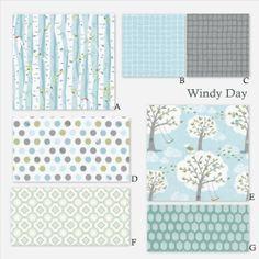 Custom Baby Crib Bedding 3 piece set Windy Day by DnileDesign