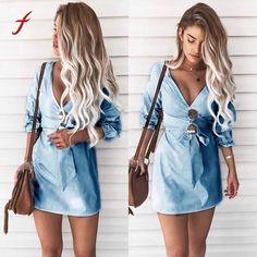 Womens Sexy 2018 dress Mini Dress cotton solid color Dress