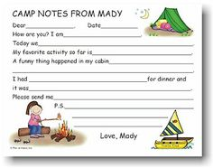 Summer Camp Fill In The Blank Stationary Order Digital Download