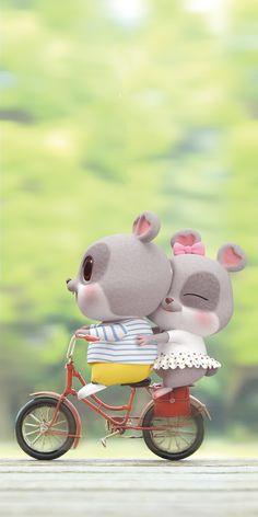Love Wallpaper Backgrounds, Chibi Wallpaper, Cute Love Wallpapers, Cute Couple Wallpaper, Cute Disney Wallpaper, Wallpaper Iphone Cute, Cute Cartoon Wallpapers, Cute Bunny Cartoon, Cute Kawaii Animals