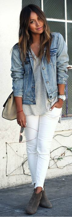 Denim jacket, white jeans and grey t.