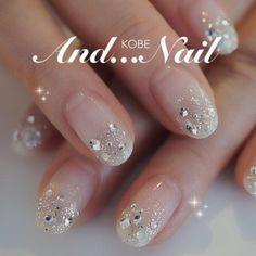 29 Trendy Wedding Nails Design Make Up Fancy Nails, Love Nails, Trendy Nails, White Nails, Pink Nails, Glitter Nails, Pink Glitter, Sparkle Nails, Jewel Nails