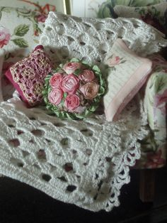 minature crochet throw and pillows