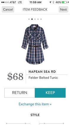 Would love to try this belted tunic top- Napean Sea RD Felder Belted Tunic - Plaid - Stitch Fix 2016