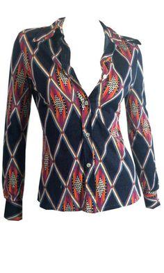 Op-Art Brushed Cotton Jersey Disco Body Shirt circa 1970s - Dorothea's Closet Vintage
