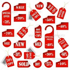 Set of red price tags and labels. Vector eps10 illustration