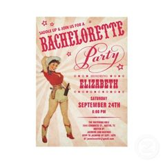 Cowgirl Bachelorette Party Invitations #vintage #western TBA Award Winning 9-28-12 by Western_Invitations