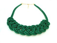Green Rope Knot Statement Necklace by ChichiKnots on Etsy, $28.00