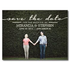 Simple Chic Wedding Save the Date Engaged Enagagement Custom Portrait Picture Photo Wedding POSTCARD  #wedding