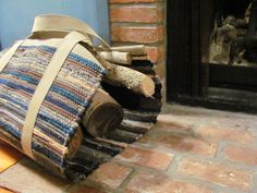 Wood Tote Log Carrier, Hand Woven, Recycled Wool Rag, Woodland Blue Green Tan Gray, Rustic Cabin Fireplace, Traditional Home, Hearth Decor. $225.00, via Etsy.