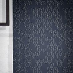 Keziah Night by Florent Bodart — Shop Geometric Wallpaper Design, Geometric Shapes, Vintage Tile, Gray Background, Elle Decor, Designer Wallpaper, Modern Minimalist, Tiles, Pure Products
