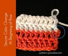 Video tutorial color change at the beginning of row , by Pattern-Paradise.com #crochet #tutorial #colorchange #patternparadisecrochet