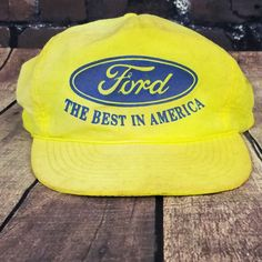80488334d6056 Vintage Ford Trucker Hat Snapback Baseball Cap Yellow  MOHRS  Trucker
