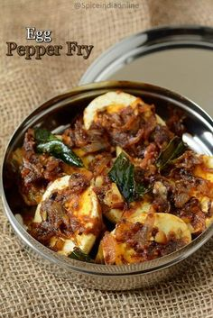 Egg Pepper Fry Recipe - Muttai Milagu varuval - Egg Pepper Masala Fry — Spiceindiaonline - Egg Pepper Fry doesn't need any introduction, as such its one such easy peasy recipe, its a regul - Egg Recipes Indian, Egg Recipes For Dinner, Easy Egg Recipes, Indian Dishes, Veg Recipes, Side Dish Recipes, Vegetarian Recipes, Cooking Recipes, Curry Recipes