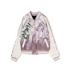フラワーリバーシブルスカジャン ❤ liked on Polyvore featuring outerwear, jackets, tops, coats & jackets, jumpers, purple jacket and bubble jacket