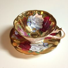 Queen Anne Tea Cup and Saucer Gold & Roses