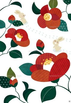 Illustration of camellia and rabbit in winter Photo .- 写真素材・… Illustration of camellia and rabbit in winter snow New Year Illustration, Art And Illustration, Illustrations And Posters, Japanese Flowers, Japanese Art, 60s Art, New Year Art, Japanese Patterns, Pattern Wallpaper