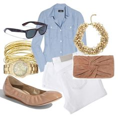 Pearl necklace with denim shirt
