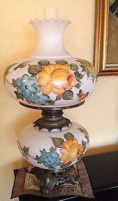Vintage hurricane lamps glass antique hurricane lamps vtg xxlarge hand painted rose gone wind 3 ways hurricane table lamp 27 x 15 aloadofball Image collections