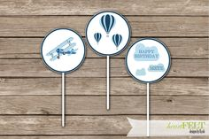 "Vintage Planes Cupcake Toppers- First Birthday ""How time flies"" digital printable DIY cupcake toppers by heartFELTbyKyah on Etsy"