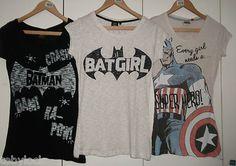 RETRO BATMAN EVERY GIRL NEEDS SUPER HERO OR BATGIRL T SHIRT TOPS 6-20  PRIMARK fd639f10f3d67