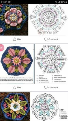 Crochet Stitches Chart, Crochet Mandala Pattern, Crochet Square Patterns, Crochet Diagram, Crochet Blanket Patterns, Crochet Designs, Knitting Patterns, Crochet Hexagon Blanket, Diy Crochet Granny Square
