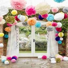 decoração de teto com bola de flores - Pesquisa Google
