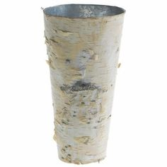 "4.50 SALE PRICE! Show off your flowers in this bright birch covered zinc vase. Each birch vase is made of zinc metal wrapped in natural bark. They are 9""..."