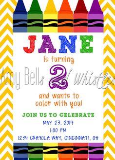 Colorful Crayola Crayon Birthday Invitation Boy or Girl Custom Personalized - Digital File on Etsy, $10.00