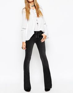 ASOS Baby Kick Flare Jeans In Washed Black With Lace-Up Fly