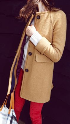 The fact that this coat is colorless, the perfect seasonality of red pants, & winter white...Again, easy, casual and totally chic.