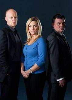 Max, Tanya and Derek Branning played by jake Wood, Jo Joyner and Jamie Foreman