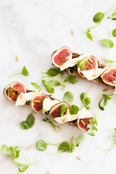 panchetta fig cheese and cress on bruchetta