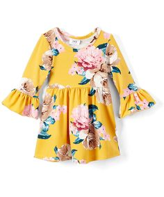Toddler Spring Dress|| Toddler Girl Spring Outfit || Yellow & Pink Floral A-Line Dress (affiliate)