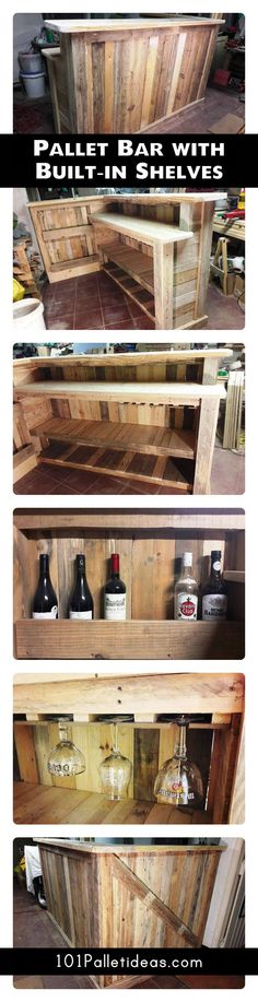 DIY Pallet Bar with Custom Built-in Shelves