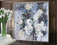 Abstract bloem olieverfschilderij op doek door CelineZiangArt