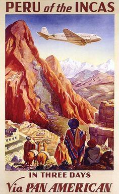 PERU INDIANS INCAS PAN AMERICAN AIRPLANE LARGE VINTAGE POSTER REPRO by WONDERFULITEMS, http://www.amazon.com/dp/B001W0OR4C/ref=cm_sw_r_pi_dp_9Yvhqb136ADR5