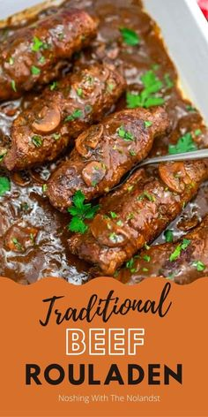 This amazingly delicious meal is simple to make and has been enjoyed at our home countless of times. It makes a great fall and winter meal on a chilly day!! Recipes Using Ground Beef, Best Beef Recipes, Family Recipes, Rouladen Recipe, Beef Rouladen, Slow Cooker Beef Tenderloin, Full Course Dinner, Ground Beef Casserole, Easy Family Dinners