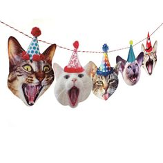 Ready to ship! Buy any two garlands and the second one ships free! Happy Birthday to Mew!!! (Sorry...) Celebrate your special someone with a delightful garland of singing cat heads. Each sports a different birthday hat and none of them sing in tune. If you are a cat person, you will love this photographic, beautifully printed flat felt garland. It is printed on wool felt for strength and durability. You get 5 different cat heads with hats and each cat head is approximately 6 x 4 (15.2cm x…