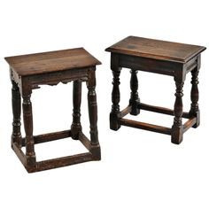 Two Jacobean English Joint Stools